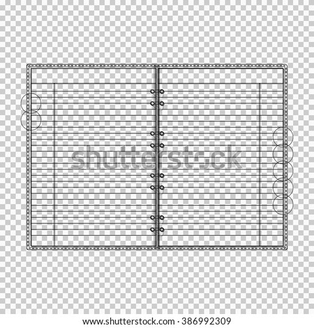 Transparent Draft of Blank lined opened notebook. EPS10 vector. - stock vector