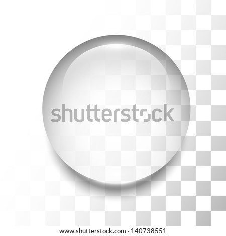 Transparent drop with shadow and reflection, vector illustration - stock vector