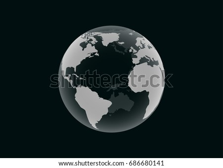 Transparent Earth model on dark green background
