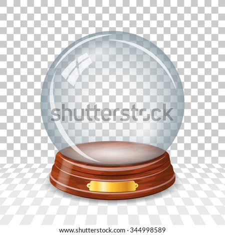 Transparent empty snowy glass ball
