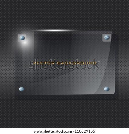 Transparent frame of Plexiglas on black background. Vector illustrator. - stock vector