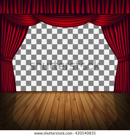 Transparent frame of stage with red curtain. Background with red curtain and a wooden floor - stock vector