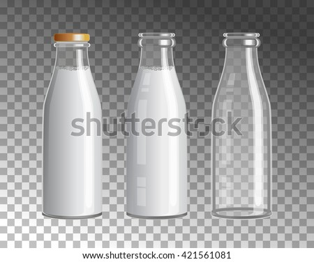 Transparent Glass Bottles. Dairy products. Empty, full and closed milk jars. Vector set of three images. - stock vector
