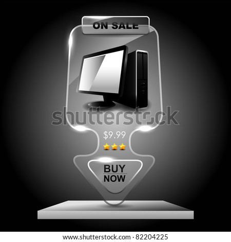 Transparent glass computer sale banner,Marketing illustration. - stock vector
