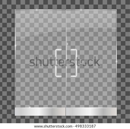 Transparent Glass Door Isolated Vector Illustration Stock Vector