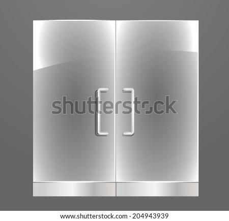 Transparent Glass door with steel handles, vector illustration - stock vector