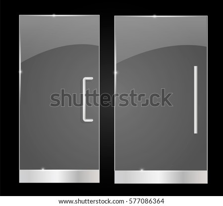 Transparent Glass Doors Isolated On Black Stock Vector 577086364