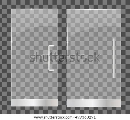 Transparent glass doors isolated vector illustration. For shop store mall