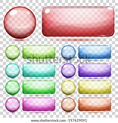 Transparent glass round and rectangle buttons various colors - stock vector