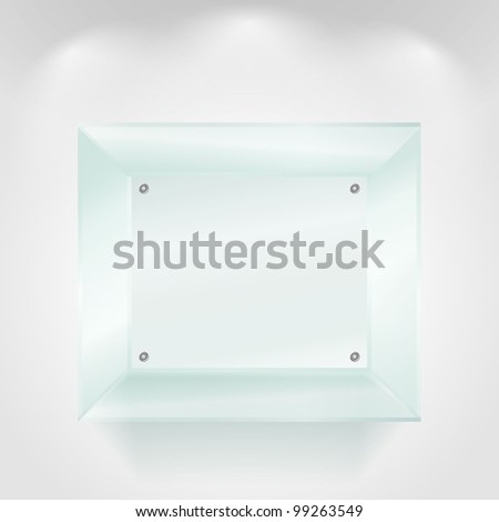 Transparent glass showcase, vector eps10 illustration - stock vector