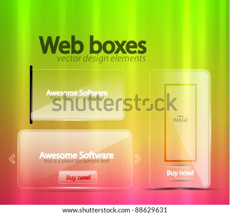 Transparent glass web banners - stock vector