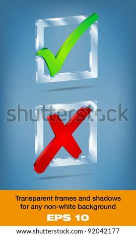 Transparent glass YES/NO check boxes - stock vector