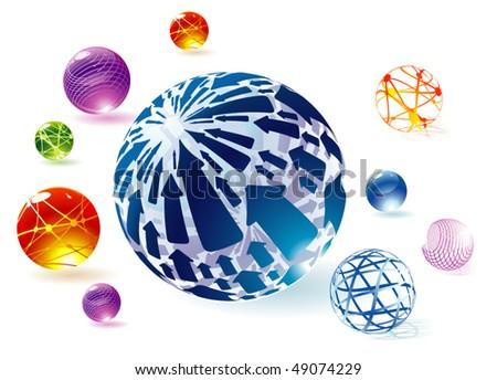 Transparent globes. Vector. - stock vector