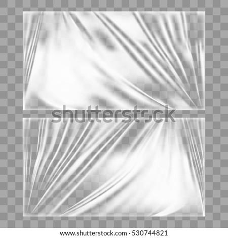 Transparent Glossy Polyethylene Plastic Warp. EPS10 Vector