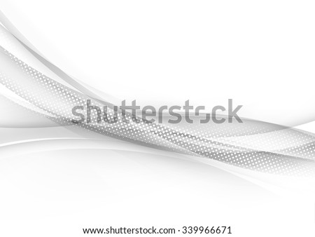 Transparent halftone modern swoosh wave line abstract border particle hi-tech background. Vector illustration - stock vector