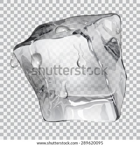Transparent ice cube with water drops in gray colors - stock vector
