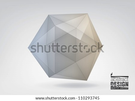 Transparent icosahedron, you can change colors - stock vector
