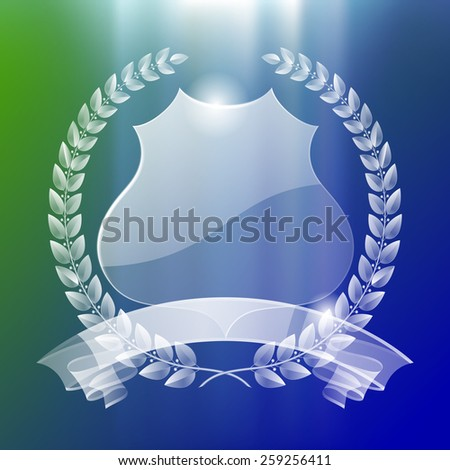 Transparent illuminated badge with laurel wreath and ribbon. Retro design elements. Vector Illustration - stock vector