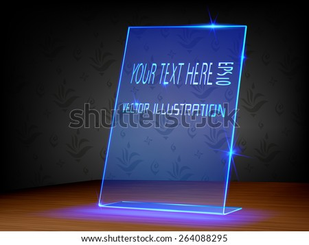 Transparent label, Light label with glass and acrylic design on dark background - stock vector