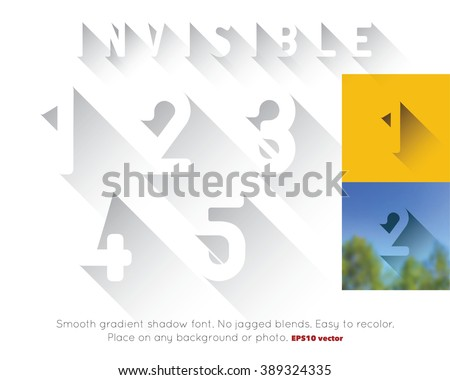 Transparent long shadow font. Invisible 3d CMYK vector alphabet numbers can be placed on any background or photo. Convert to RGB for online. Smooth EPS 10 gradients. No jagged blends. Numerals 1-5. - stock vector