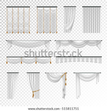 Transparent luxury curtains and draperies interior decoration design ideas realistic images collection checkered background vector illustration