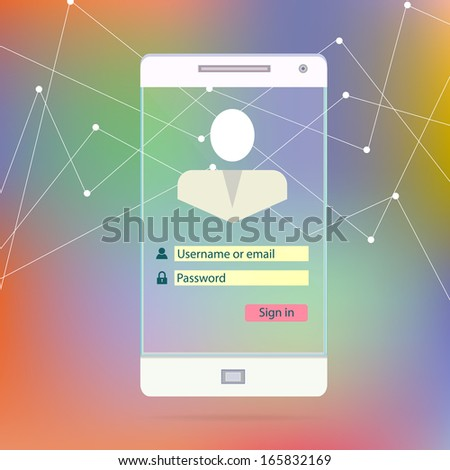 Transparent Mobile Smart Phone Screen with application interface secutity page new Digital Technology Futuristic concept creative design in vector - stock vector
