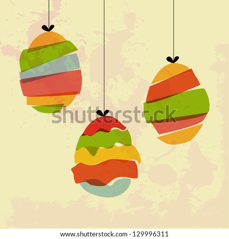 Transparent multicolored hanging Easter eggs. EPS10 file version. This illustration contains transparencies and is layered for easy manipulation and custom coloring - stock vector