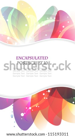 Transparent petals on a white background. Abstract floral card with place for text