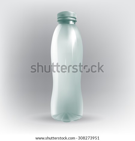 Transparent plastic bottle with blank advertising space, text, vector - stock vector