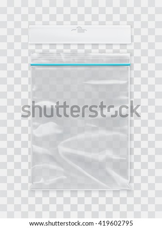 Transparent polyethylene package, vector mockup - stock vector