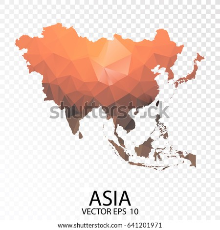 Transparent polygon map vector illustration low stock vector transparent polygon map vector illustration low poly color orange asia map of isolated vector gumiabroncs Images
