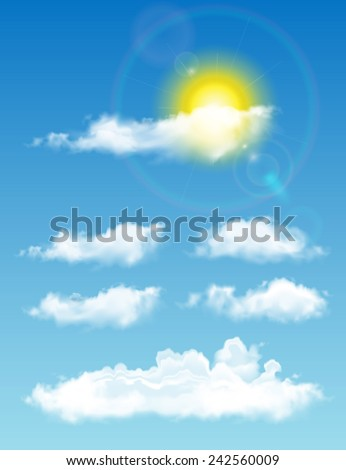 Transparent realistic clouds . Full-time sky with sun and clouds - stock vector
