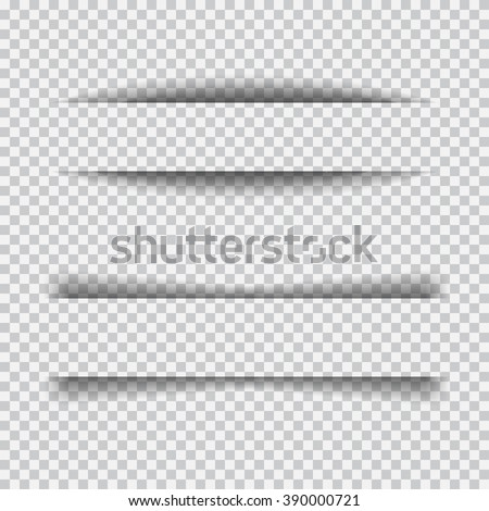 Transparent realistic paper shadow effect set. Web banner. Element for advertising and promotional message isolated on transparent background. Abstract vector illustration for your design and business - stock vector