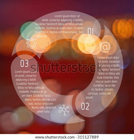 Transparent round infographic diagram on blurred bokeh background. Circular connected chart with 3 options. Paper progress steps for tutorial. Business concept sequence banner. EPS10 workflow layout. - stock vector