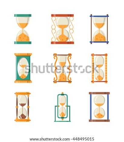 Transparent sandglass icons set, time hourglass, sand clock flat design history second old object