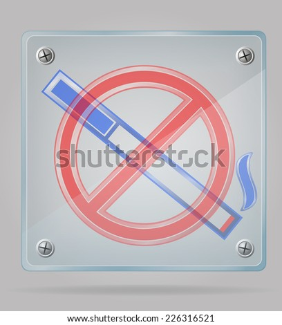 transparent sign no smoking on the plate vector illustration isolated on gray background - stock vector