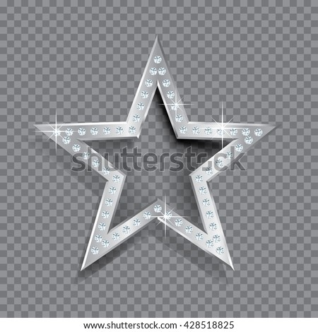 transparent silver star with diamonds, vector template for cosmetics, show business or something else