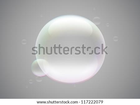 Transparent soap bubble frame - stock vector