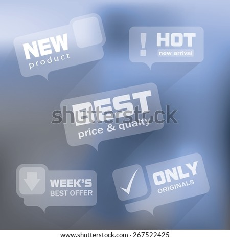 Transparent special offer bubbles with cool mobile ui design - stock vector