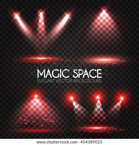 Transparent Spotlight Collection. Scene Illumination. Light Sourses. Realistic Concert, Theater and Showcase Lightning. Vector illustration  - stock vector