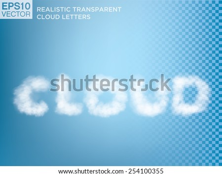 Transparent vector cloud lettering.  - stock vector