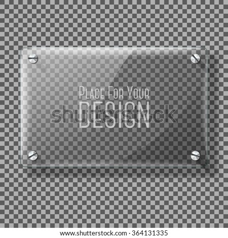 Transparent vector glass plate for your signs, on plaid background.