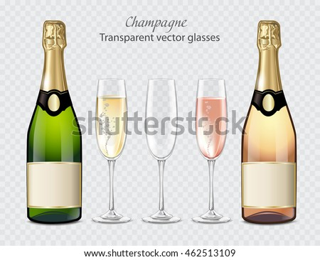 Transparent vector glasses and bottles of champagne and empty glass