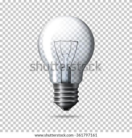 Transparent vector realistic light bulb isolated on plaid background. - stock vector