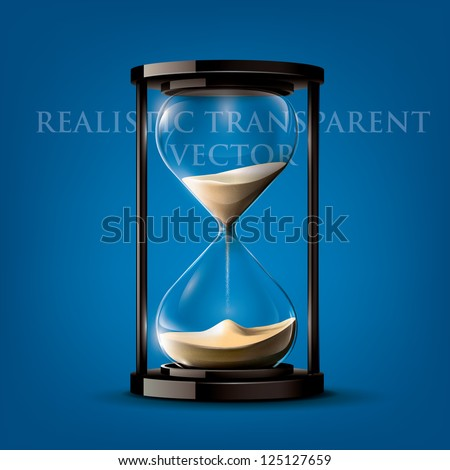 Transparent vector sand clock on blue background - stock vector