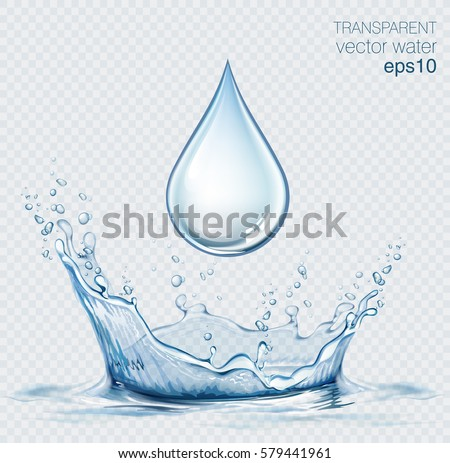 Transparent vector water splash and water drop on light background.