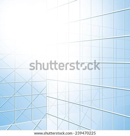 transparent vector windows - blue facade - eps 10 - stock vector