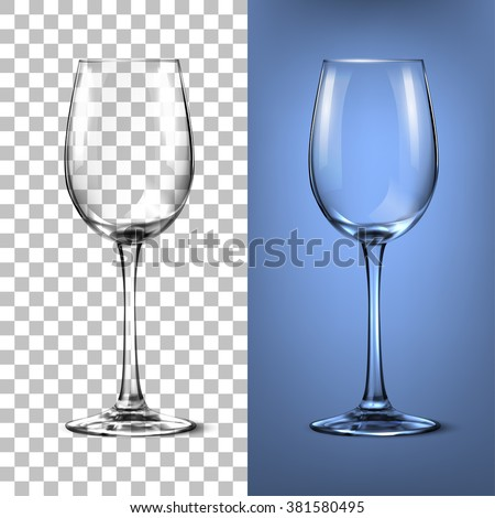 Transparent vector wineglass for light background - stock vector