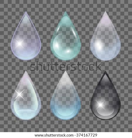 Transparent Water Drops. Rain droplet set.  - stock vector