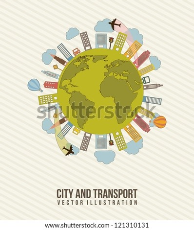 transport and city, vintage style. vector illustration